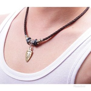 Leather Cord Weaving Necklace  Fashion Hipster
